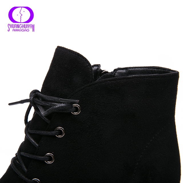 Ankle Boots Suede Leather Short Booties Lace Up Boots Women With Fur Shoes 3