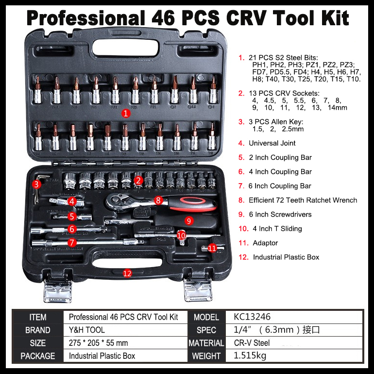 High Quality 46pcs/set Hand Tool Sets Auto Repair Tools Combination Ratchet Wrench Set For Car Tools Kit Hand Tool Box 12pcs set spanner wrench ratchet ring box set kit 6 19mm mechanic tool car garage top quality