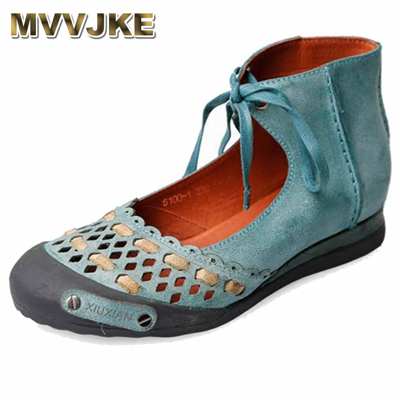 MVVJKE 2018 Fashion Loafers Women Cutout Handmade Shoes Woman Genuine Leather Soft Casual Flat Shoes Women