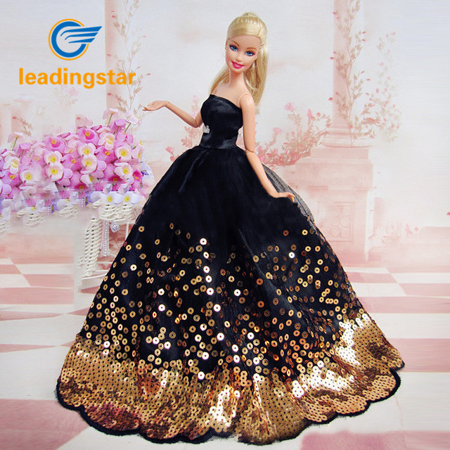 fb4bb660cc422 US $3.01 29% OFF|LeadingStar Dress with Lots of Gold Sequins Made to Fit  for the Doll Great Children Gift Birthday Dress for doll-in Dolls  Accessories ...