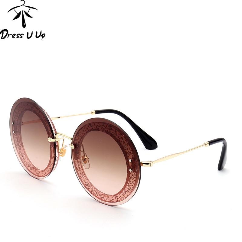 DRESSUUP Mais Recente Moda Rodada Óculos De Sol Das Mulheres Designer de Marca Do Vintage Gradiente Lentes Shades Óculos de Sol Oculos de sol Feminino