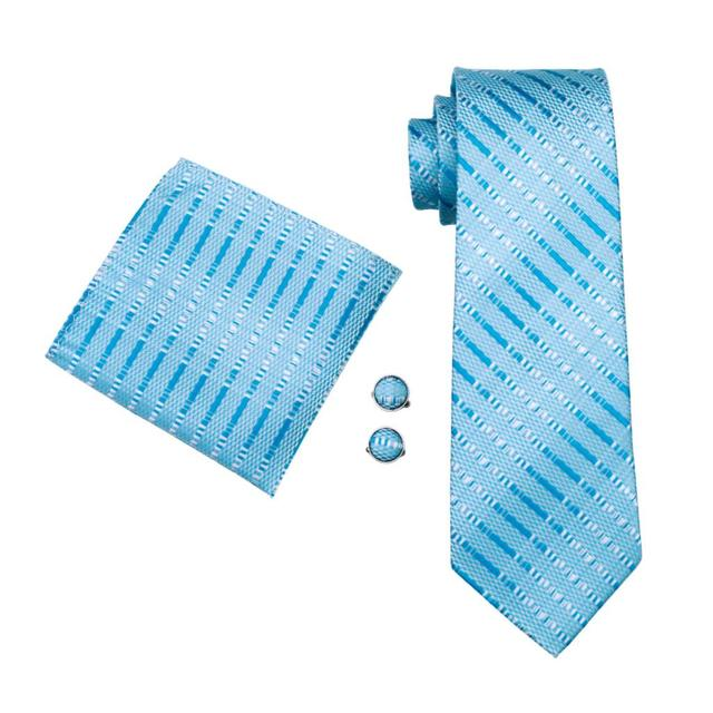 FA-703 Ties For Men Blue Striped Silk Classic Jacquard Woven Tie Hanky Cufflinks Set For Business Wedding Party Free Shipping