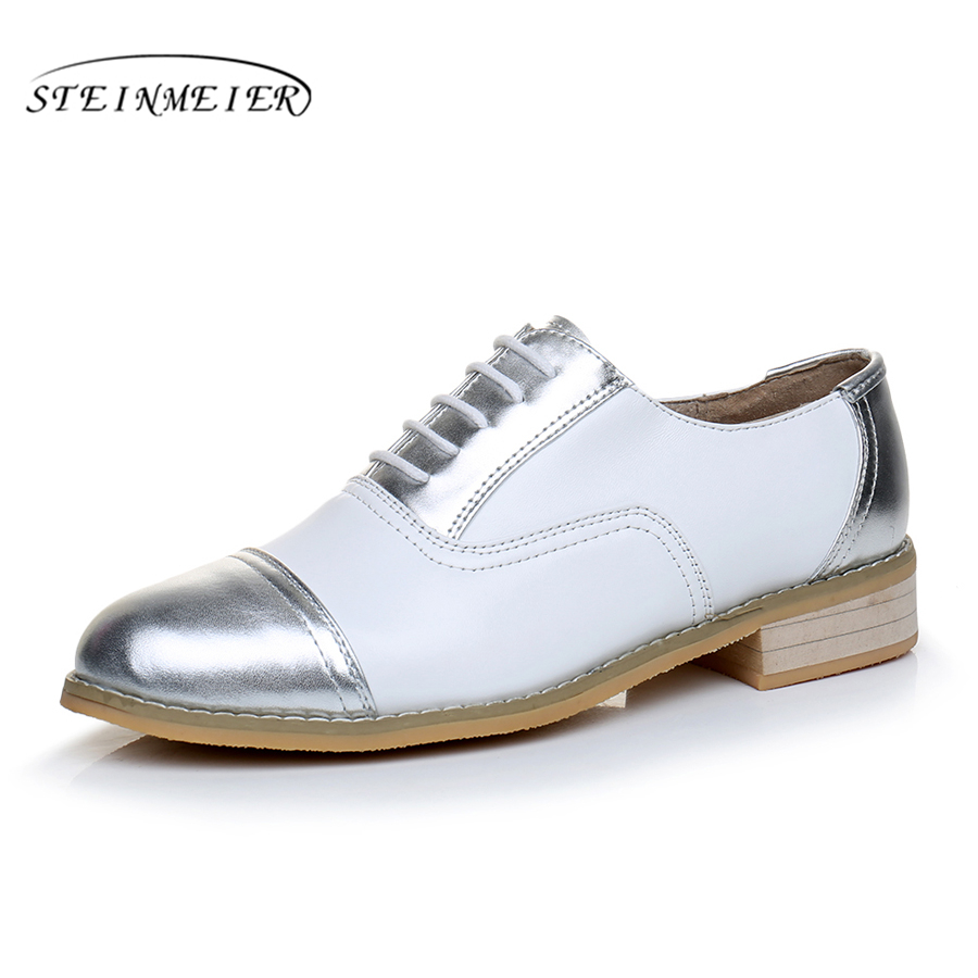 women flat shoes Genuine leather designer vintage flats round toe handmade white silver 2017 oxfords shoes for women fur women ladies flats vintage pu leather loafers pointed toe silver metal design
