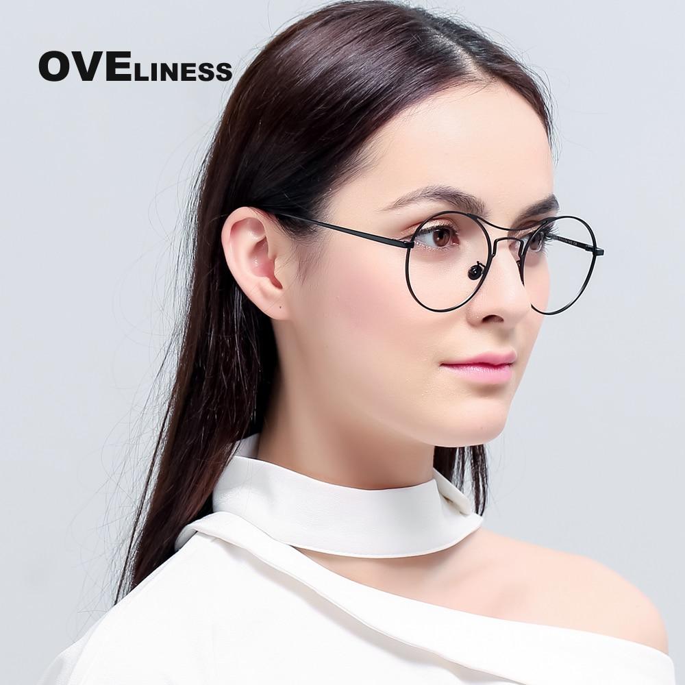 Metal eyeglasses frame women optical Eyeglass Round Big Frame Clear ...