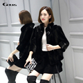 Gours Winter Women's Real Natural Fur Coat Brand Clothing Fashion Girls Black Mink Fur Jackets and Coats Warm 2016 New Arrival