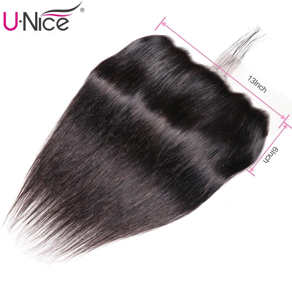 Unice Hair Closure Lace-Frontal Brazilian Straight 100%Human-Hair To Ear-Free 13--6-Ear