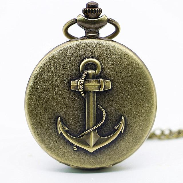 2017 New Arrival Vintage Pirate Anchor Quarzt Pocket Watch Pendant Necklace Chil