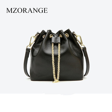 2018 High Quality Women Mini Bucket Bag Chains Genuine Leather Shoulder Bags Cow Ladies Small Crossbody
