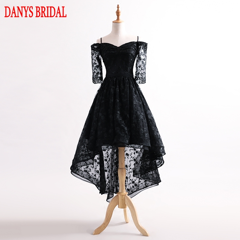 8521612fe13 Aliexpress.com   Buy Black High Low Prom Dresses with Sleeves Sexy 8th Grade  Women Hi Lo Formal Evening Dresses for Graduation Gown Promdress from  Reliable ...