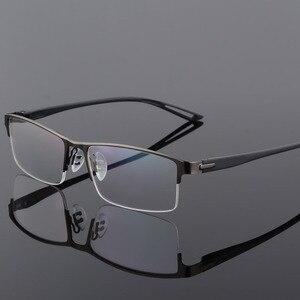 Image 3 - TR90 Titanium Alloy Glasses Frame Men Semi Rimless Square Eye Glass Prescription Eyeglasses Myopia Optical Frames Korean Eyewear