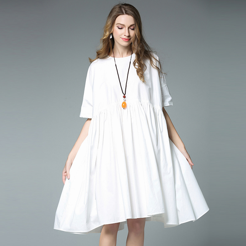 Party 2017 Casual Fat Large Big Plus Size Women Summer Black White Fashion  Beach Cotton Dress Vestido Tunic Clothing Robe Femme-in Dresses from Women s  ... 9cd1d9f1bf46