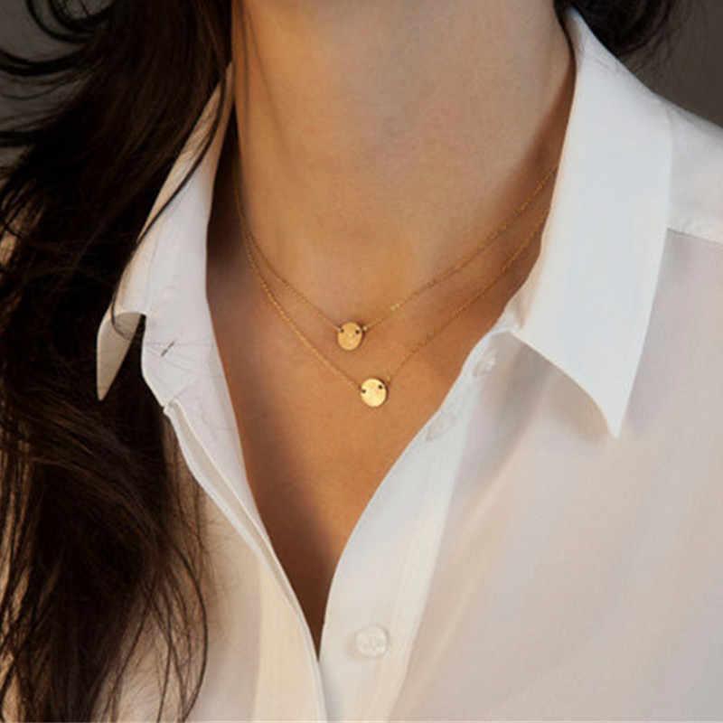 Đúp vàng chain nhiều lớp chuỗi và vòng cổ búa đĩa chuỗi đồng xu chuỗi vòng cổ trang sức cưới 2L2018