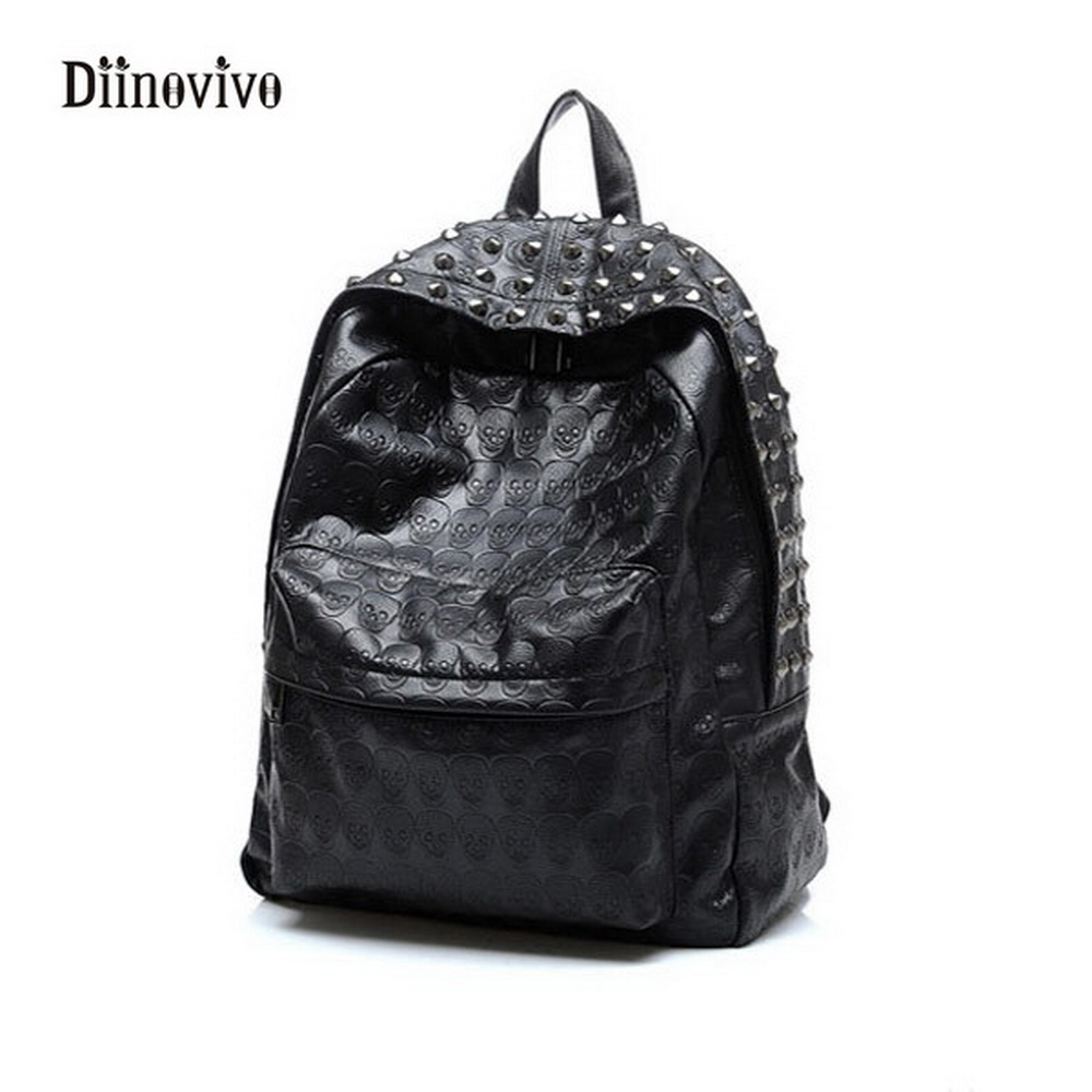 Diinovivo Fashion Luxury Leather Ladies' Backpack Large Capacity Travel Bag Punk Style Youth Casual School Bag Knapsack Whdv0084