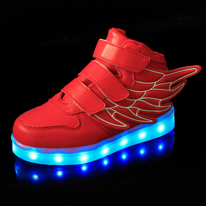 Kids-Shoes-Boys-Girls-Fashion-LED-Lights-USB-toddler-Luminous-Wings-Sneakers-Children-Comfortable-Flats-Sports-Top-high-football-2