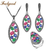 Feelgood New Individuality Luxury Vintage Silver Color Bride Jewelry Set With Multicolor Stone For Women Wedding Party Gifts