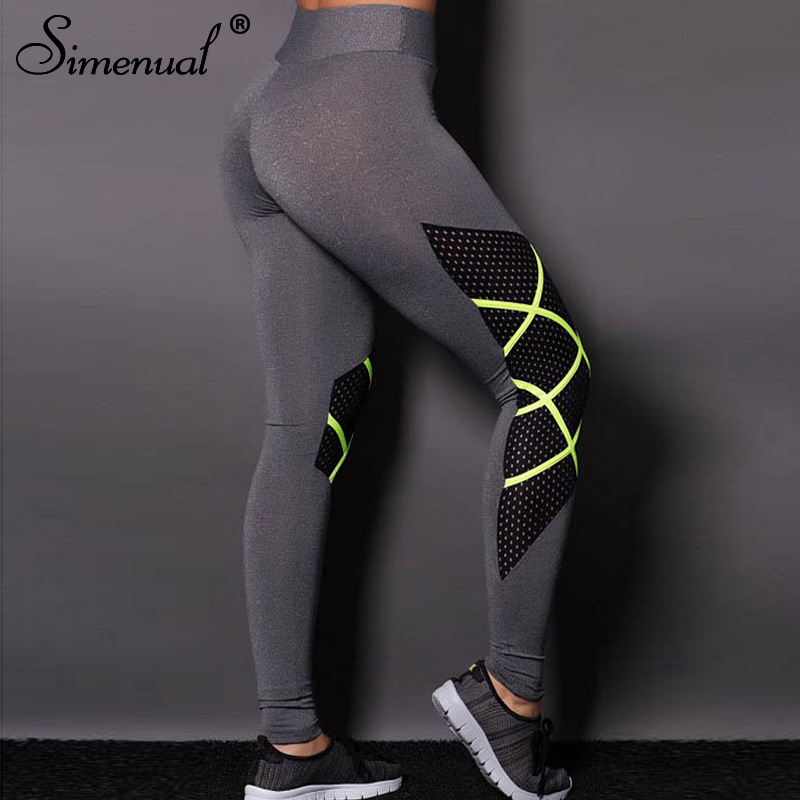 Simenual Mesh hollow out   legging   women high waist active wear push up bodybuilding sportswear fluorescence green leggins elastic