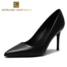 KATELVADI Party Shoes High Heels Fashion Women Pumps Black Split Leather 8CM Heel Sexy Wedding Woman,K-319