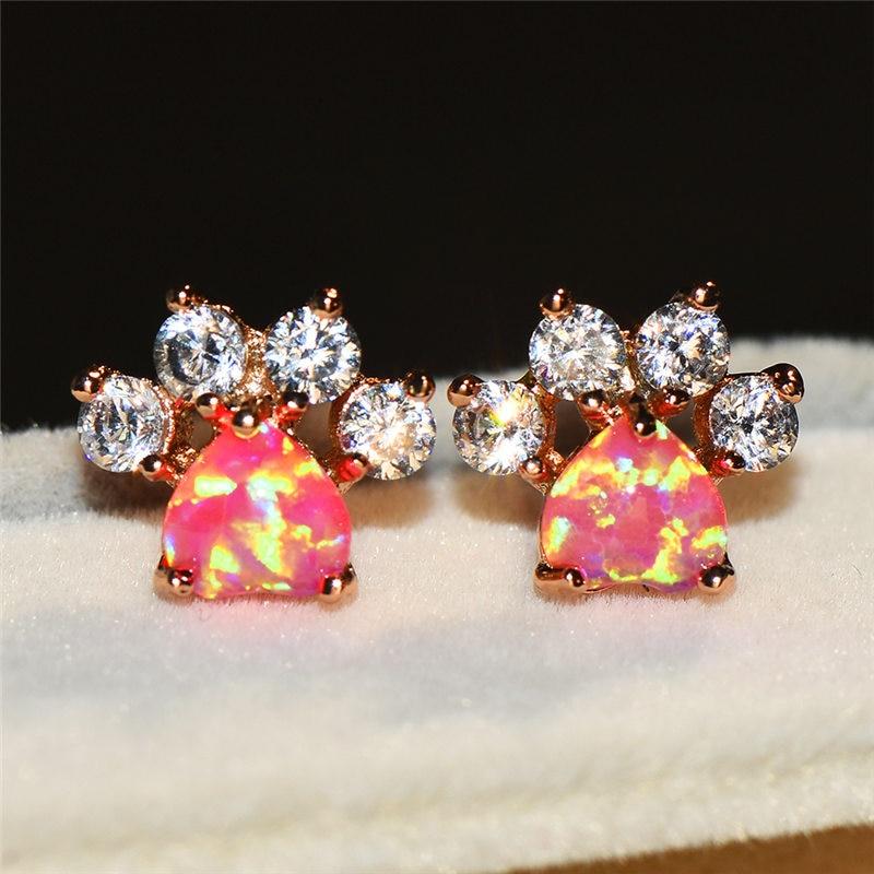 Female White Blue Opal Stone Stud Earrings Rose Gold Wedding Jewelry Boho Small Dog Cat Paw Claw Earrings For Women