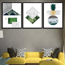 Geometrische ananas Muur Art Canvas Posters Prints Abstract Schilderij Decoratieve Picture voor Kinderkamer Nordic Decoratie(China)