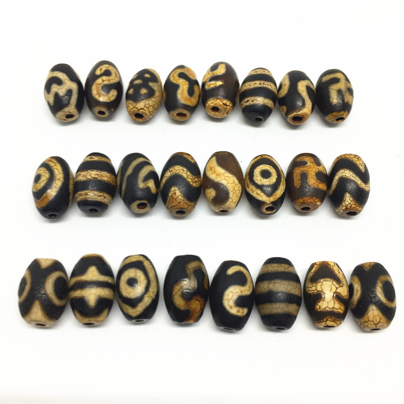 20pcs/lots Natural Stone Accessories Beads Tibetan Dzi Beads 8mm*12mm for making diy Jewelry Free Shipping