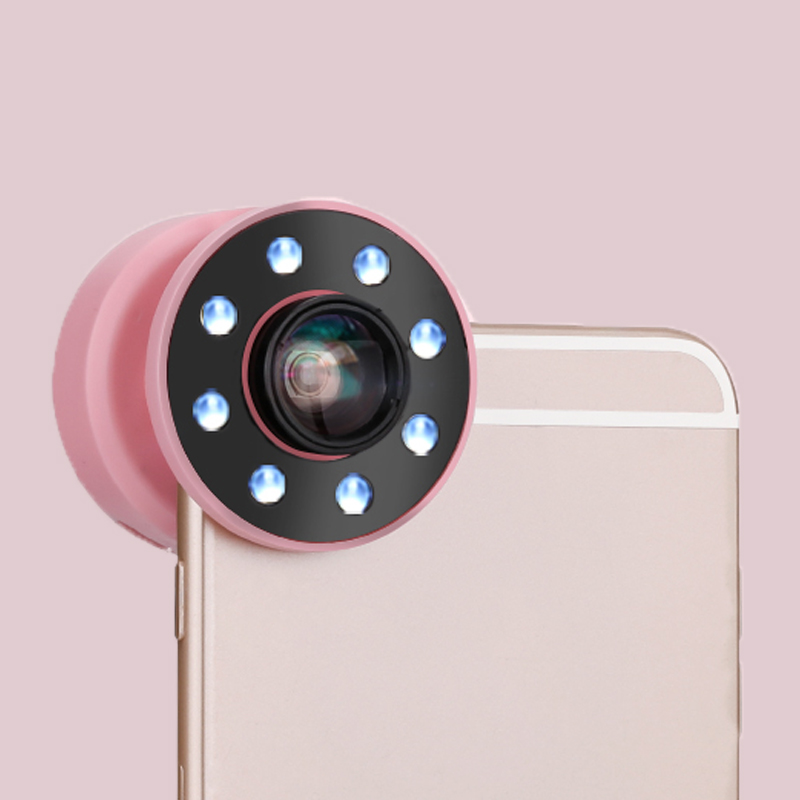 1PC 2 in 1 LED Flash Light Adjustable Fill Beauty Selfie Ring light + Wide Angle Macro Fisheye Lens For iPhone For Samsung