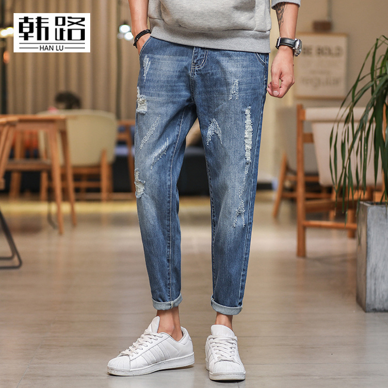 COCO new 2019   jeans   men nine minutes of pants worn out leisure wash hip hop   jeans