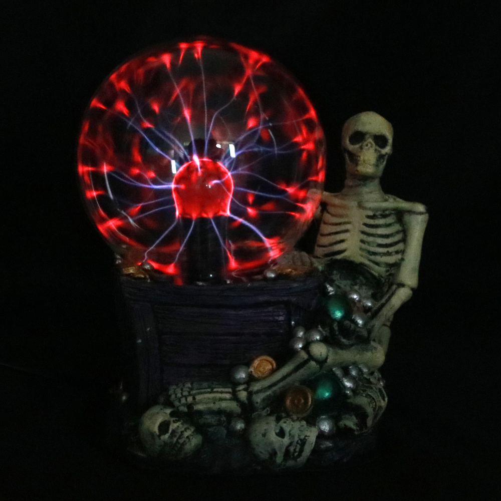 Greedy Skull With Jewelry Lamp Statue Plasma Skull Storm Ball Touch Sensitive Desk Decoration Skeleton Core Reactor Laser Static