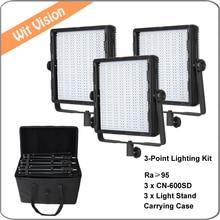 3pcs 600led 5600K Portable LED Studio Light Panel for Studio Broadcast and Photo Shooting