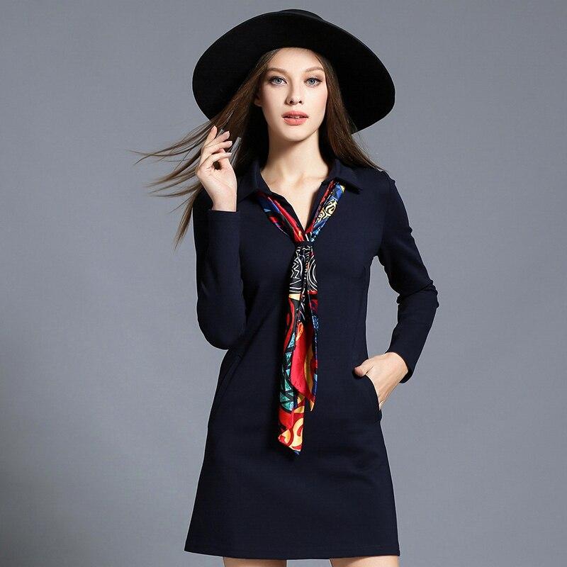 2017 Autumn Winter font b Women b font Turn down Collar Cotton Dresses Long Sleeves Lady