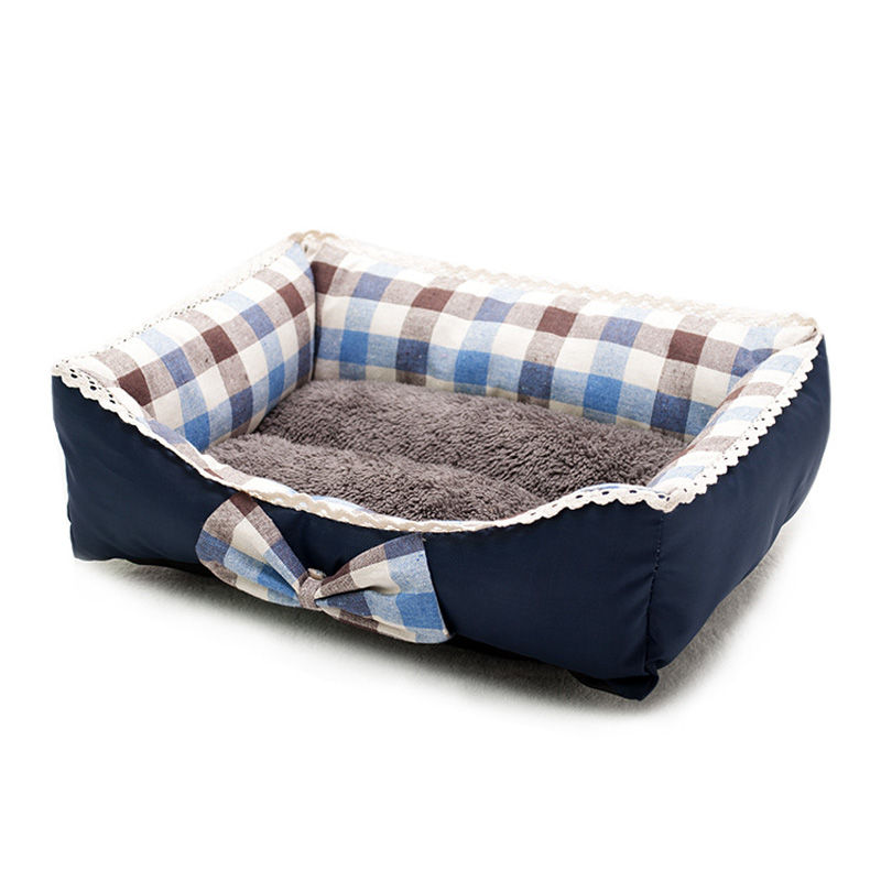 ②princess Pet Dog Beds Warming Dog Bed House Bowknot Lace Pets