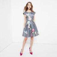 FREE SHIPPING 2016 Summer New Arrival Vintage Elegant O Neck Short Sleeve High Waist Knee Length