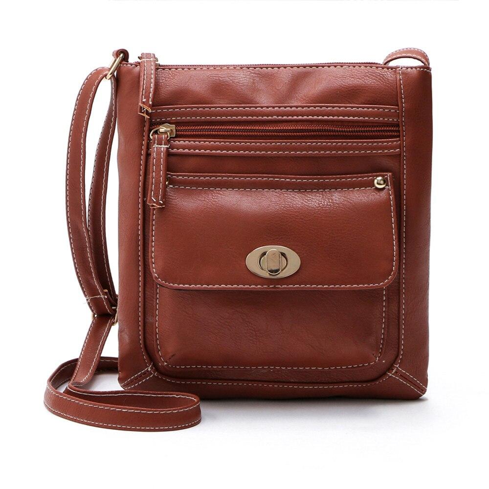 Womens PU Leather Satchel Cross Body Shoulder Messenger Bag Female Our Luxury Soft Vintage Handbag Zipper Bags 10Aug 13