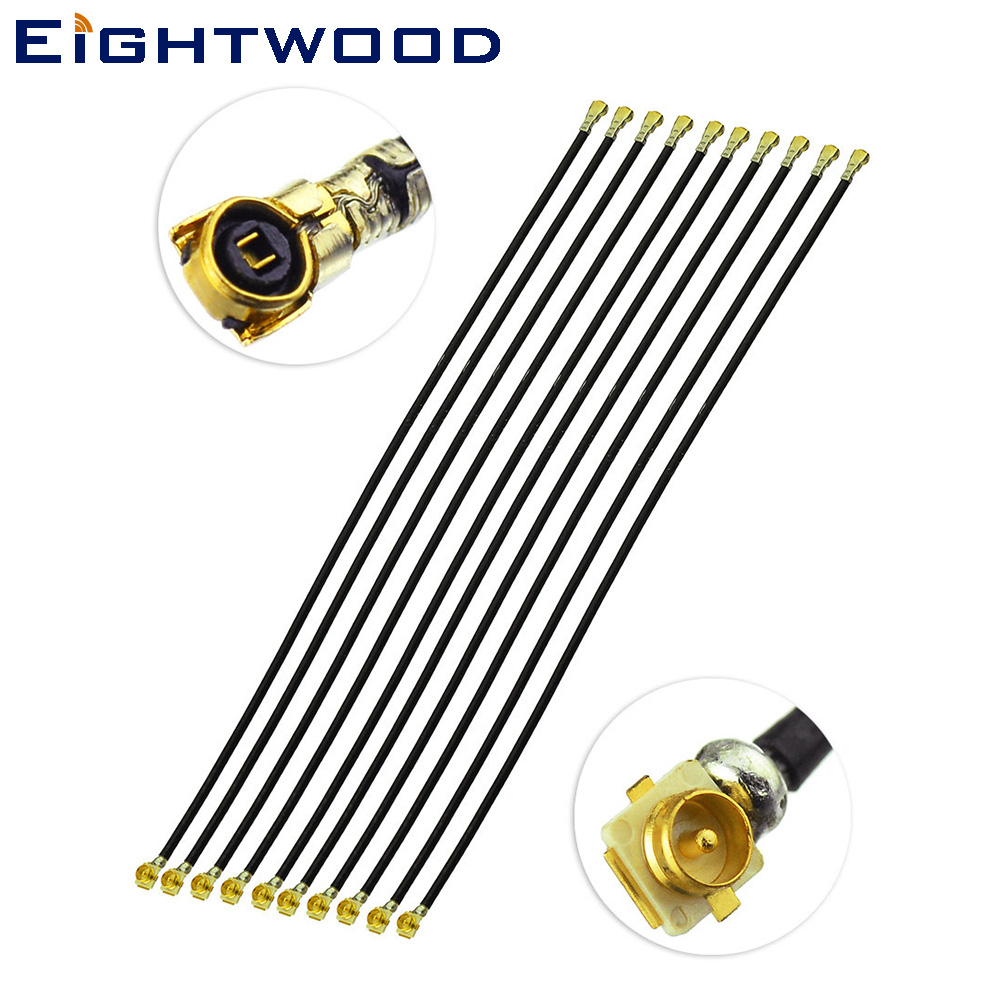 Eightwood 10PCS 10 cm <font><b>Uf</b></font>.l /IPX Plug Male SMD Connector to IPEX /MHF4 Jack Female Pigtail 1.13mm Cable for Car GSM GPS Antenna image