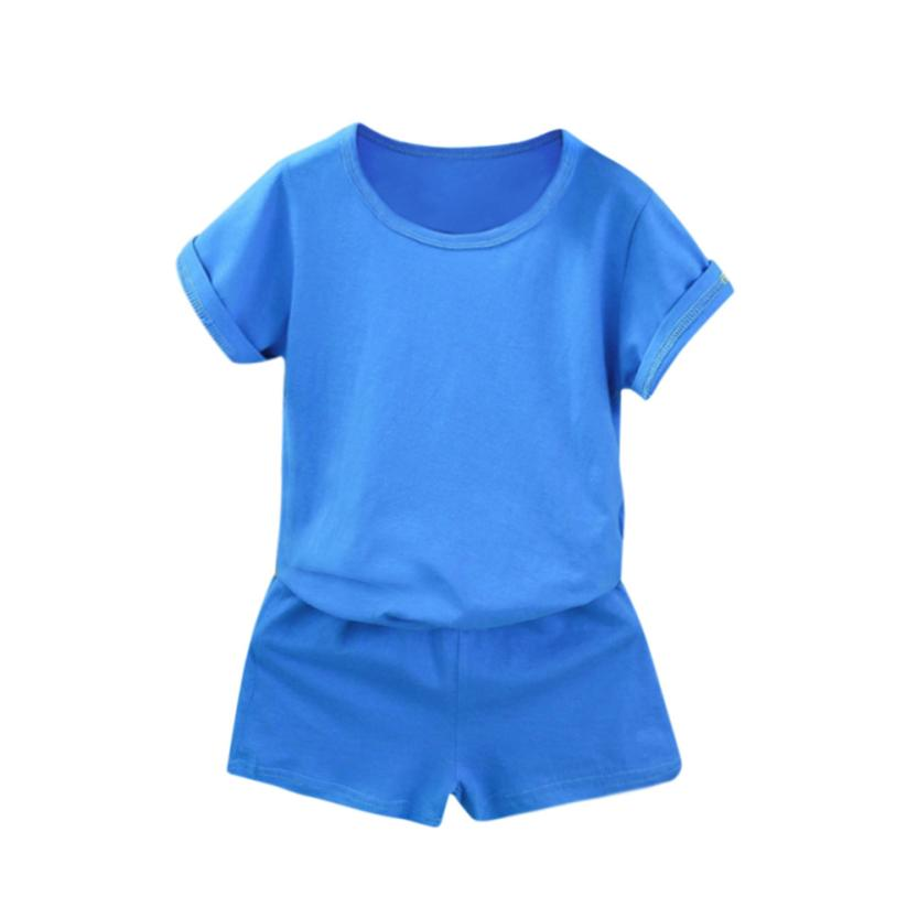 2pcs Children's tracksuit Kids Baby boy girl active Summer Solid Short Sleeve o-neck Tops T-Shirt Shorts cotton Outfits Clothes 2pcs children outfit clothes kids baby girl off shoulder cotton ruffled sleeve tops striped t shirt blue denim jeans sunsuit set