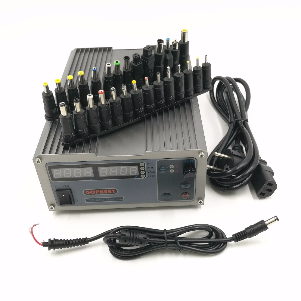 CPS-6011 60V 11A Precision PFC Compact Digital Adjustable DC Power Supply Laboratory Power Supply with 28pcs power adapter cps 6011 mini adjustable compact high power digital dc power supply 60v 11a laboratory power supply dc jack set for phone repair