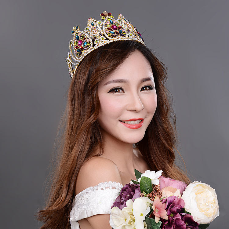 Sparkling rhinestone crystal tiaras crown bridal jewelry vintage headband hair jewelry hairwear princess Evening party gift hansoo luxury gemstone hair bands aurstria rhinestone headband bridal crystal broad brimmed hair accessory 2 colors gift mother