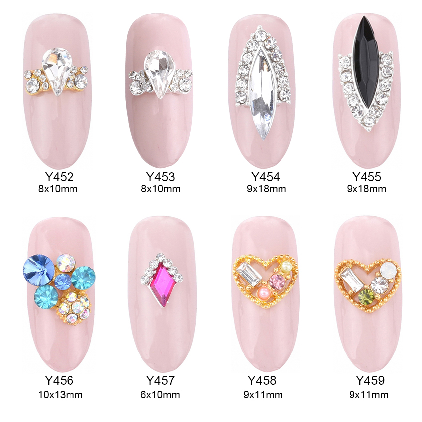 10pcs Glitters rhinestones nails strass para unhas ail art tools crystal pixie rings design jewelry nails decoration Y452~459 купить