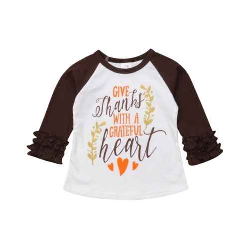 HOT Peuter Kids Meisje THANKSGIVING Halloween XMAS T-shirt Lange Mouw Blouse Shirt Tops Party Kleding Outfits
