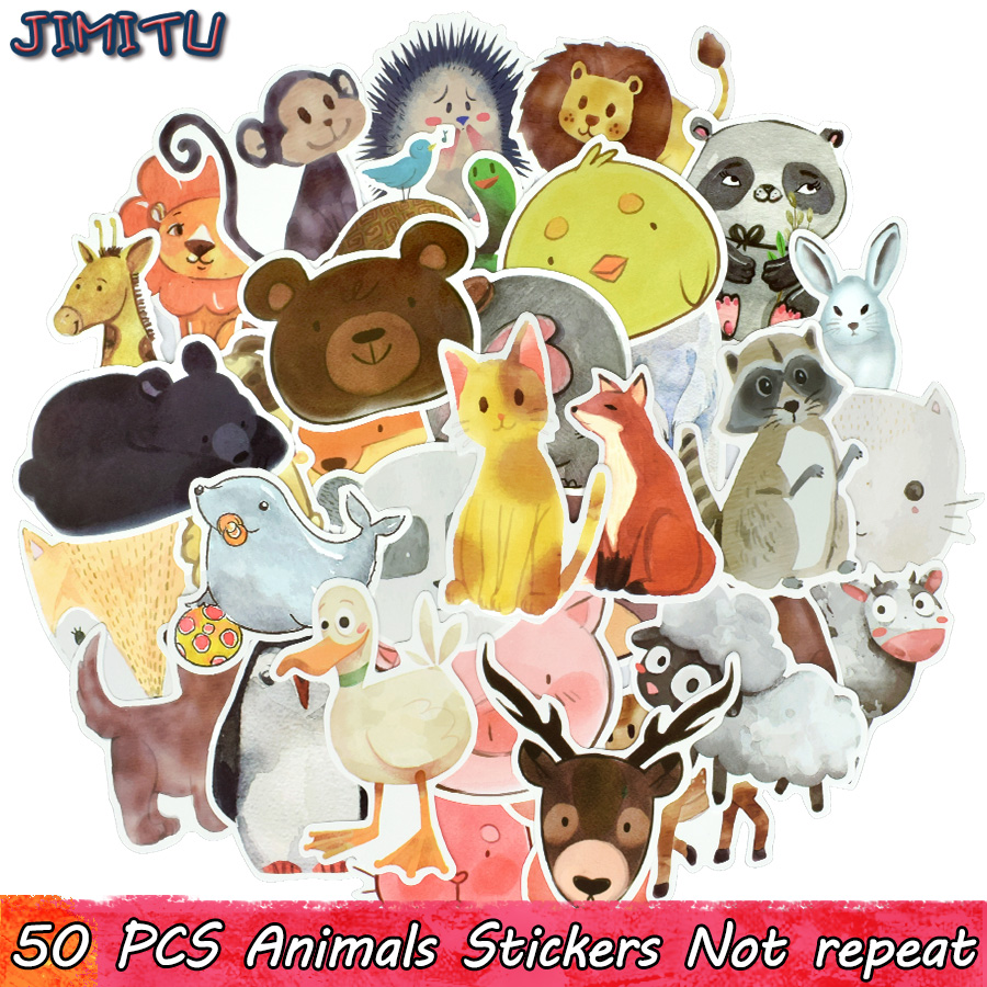 50 PCS Watercolor Animal Sticker Cute Cartoon Educational Toy Stickers Gift For Kids DIY Laptop Suitcase Bicycle Fridge Guitar