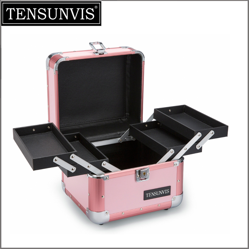 TENSUNVIS  Makeup Cosmetic Organizer Train Case 10 Professional Aluminum Storage Box Blush Pink Stripe with Lock and  Handles spark storage bag portable carrying case storage box for spark drone accessories can put remote control battery and other parts