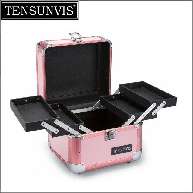 TENSUNVIS Makeup Cosmetic Organizer Train Case 10  Professional Aluminum Storage Box Blush Pink Stripe with & TENSUNVIS Makeup Cosmetic Organizer Train Case 10