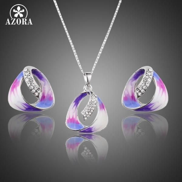 AZORA Unik Menarik Lukisan Minyak Pola Stellux Austria Kristal Stud Earrings dan Pendant Kalung Jewelry Set TG0168