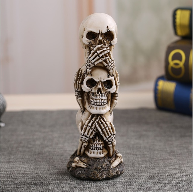 Free Shipping Resin Craft Human Skull Statue High Quality Creative Statue Sculpture Gift Home Decoration Human Skull 2