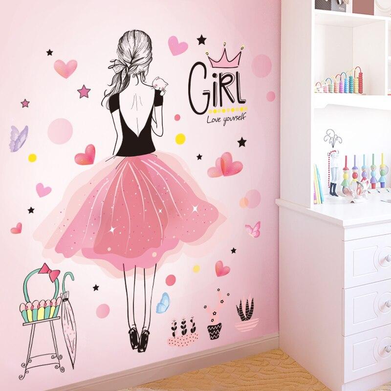 Aliexpress.com : Buy [SHIJUEHEZI] Girl Wall Stickers Vinyl