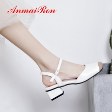 ANMAIRON 2019 New  Arrival Women Med High Sandals Basic Casual Buckle Strap Summer Fashions Size 34-43 LY2410