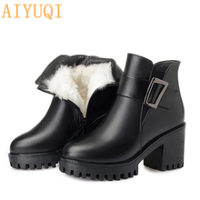 AIYUQI 2019 black ankle boots women on the platform winter genuine leather snow boots heel luxury wool boots female aiyuqi 2019 new ankle boots on the platform winter genuine leather female snow boots high heel luxury women wool boots shoes