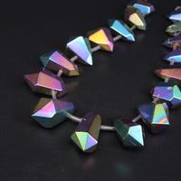15 5 Strand Large Size Rainbow Titanium Crystal Quartz Faceted Nugget Loose Beads Raw Gems Double