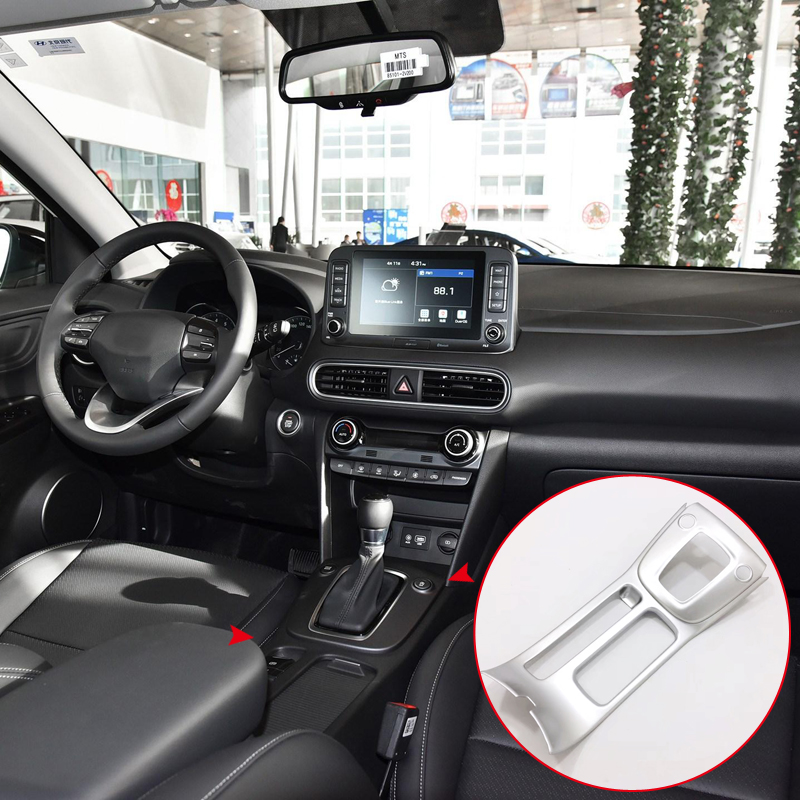 Car Styling 1PCS ABS Matte Interior Front Center Gear Panel Cover Trim For Hyundai Kona 2017 2018 Left Hand Drive