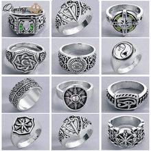 Nordic Pagan Viking Punk Ring Women's Slavic Amulet Zircon Swords Compass Antique Silver Vintage Men Jewelry Finger Ring Gift(Hong Kong,China)
