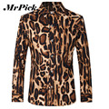Leopard Men Shirts Long Sleeve Shirts 2016 Fashion Brand Printed Turn-down Collar Shirts Chemise Homme Z1790-Euro